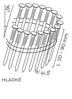 BDC hřebíky páskované ve svitku 16° hladké (50-90mm)