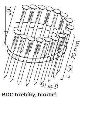 Kopie - BDC hřebíky páskované ve svitku 16° hladké (50-70mm)
