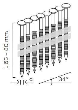 Kopie - Nerezové páskované hřebíky 34° s čočkovou hlavou konvexní (65, 80mm)
