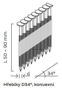 Kopie - Hřebíky D34° konvexní (50 - 90mm) pro KMR 3890