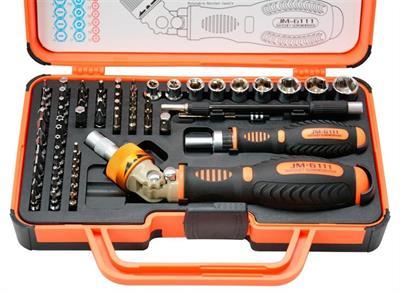 Sada ráčnových šroubováků, bitů a nástrčných hlavic JM-6111 Professional