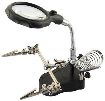 """Univerzální držák pro pájení, tzv. """"třetí ruka"""" s lupou a LED osvětlením U-ZD126-2"""